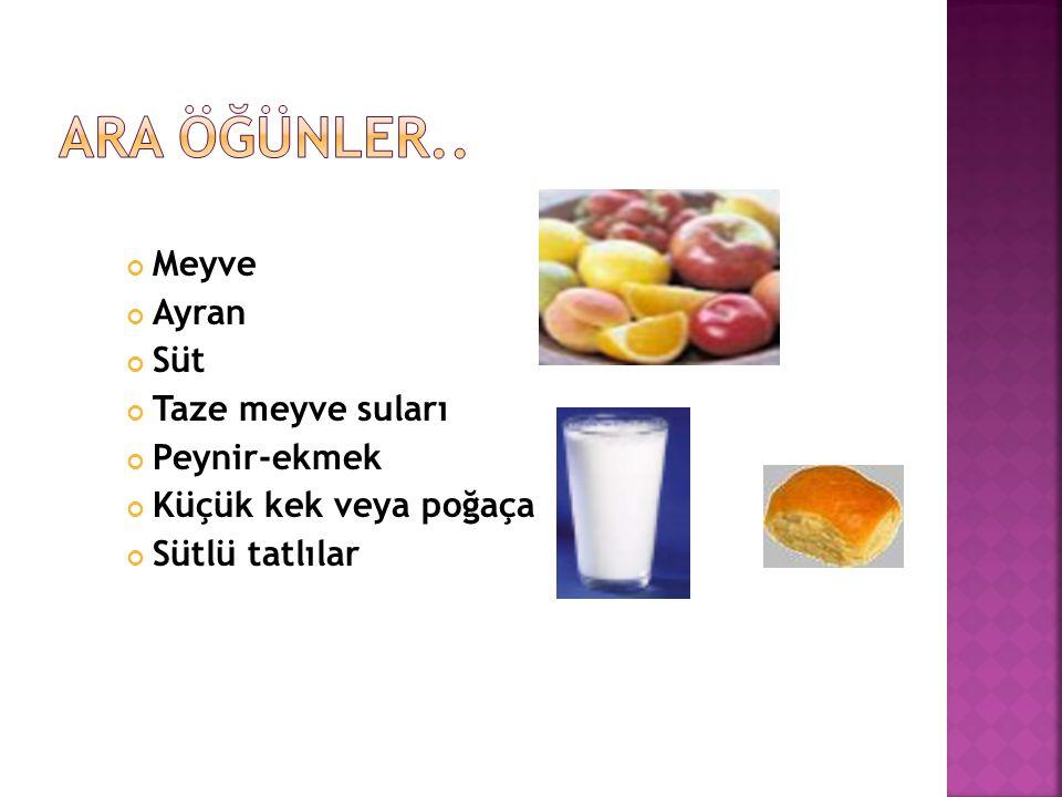 Meyve Ayran Süt Taze meyve suları Peynir-ekmek Küçük kek veya poğaça Sütlü tatlılar