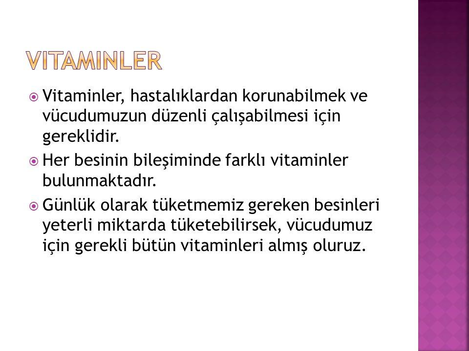  Vitaminler, hastalıklardan korunabilmek ve vücudumuzun düzenli çalışabilmesi için gereklidir.  Her besinin bileşiminde farklı vitaminler bulunmakta