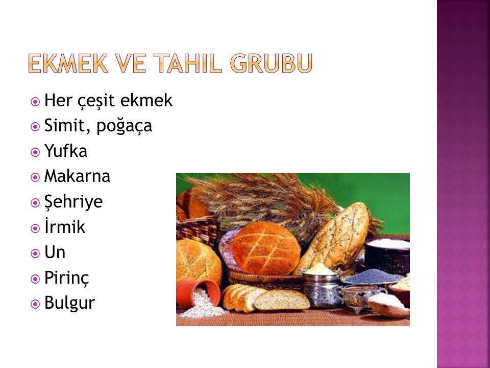  Her çeşit ekmek  Simit, poğaça  Yufka  Makarna  Şehriye  İrmik  Un  Pirinç  Bulgur