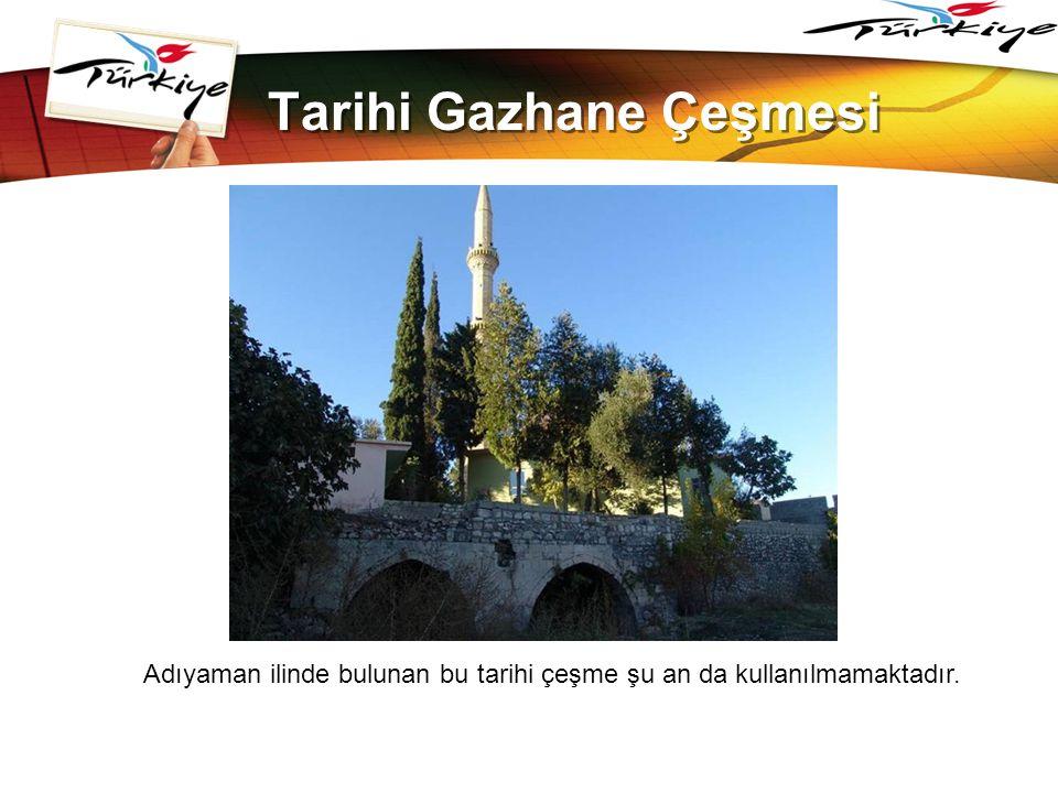 LOGO www.themegallery.com Tarihi Gazhane Çeşmesi Adıyaman ilinde bulunan bu tarihi çeşme şu an da kullanılmamaktadır.