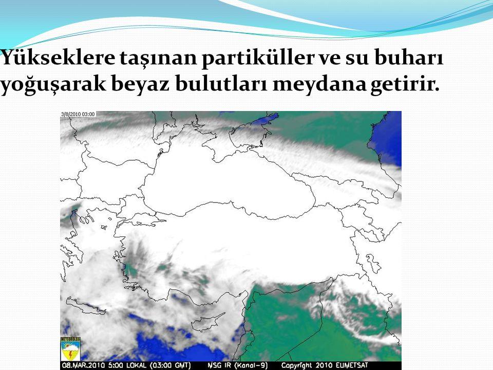 Yükseklere taşınan partiküller ve su buharı yoğuşarak beyaz bulutları meydana getirir.