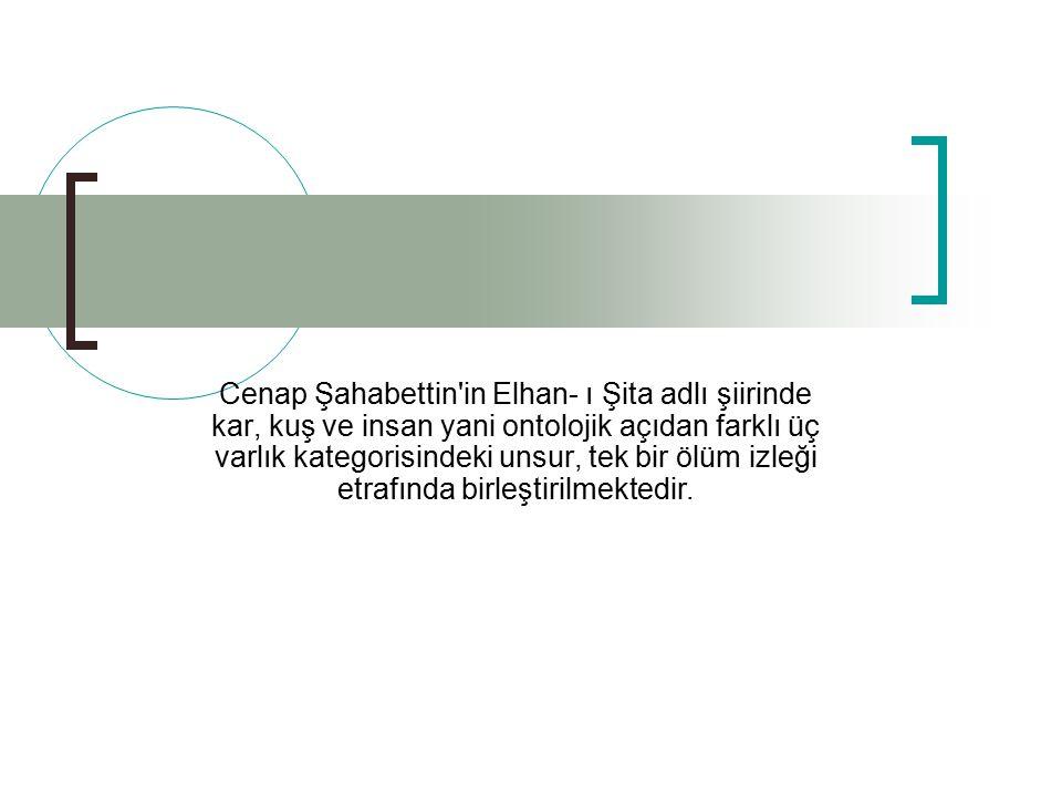 Cenap Şahabettin in Elhan- ı Şita adlı şiirinde kar, kuş ve insan yani ontolojik açıdan farklı üç varlık kategorisindeki unsur, tek bir ölüm izleği etrafında birleştirilmektedir.