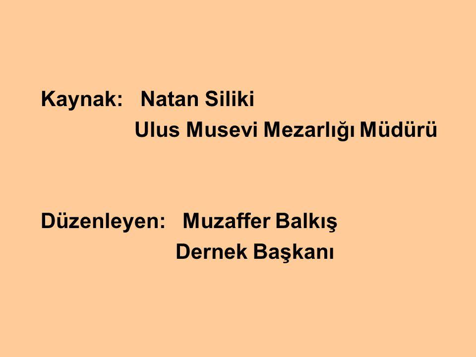 Kaynak: Natan Siliki Ulus Musevi Mezarlığı Müdürü Düzenleyen: Muzaffer Balkış Dernek Başkanı