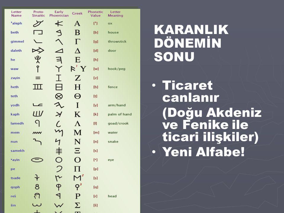 KARANLIK DÖNEMİN SONU Ticaret canlanır (Doğu Akdeniz ve Fenike ile ticari ilişkiler) Yeni Alfabe!