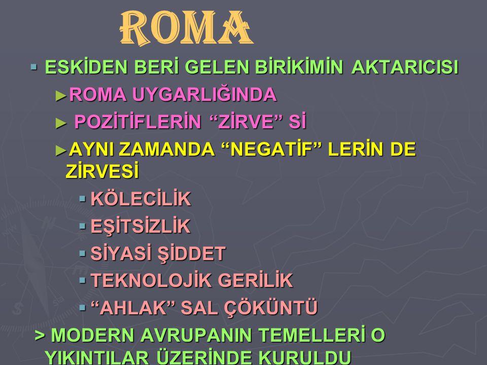 """ ESKİDEN BERİ GELEN BİRİKİMİN AKTARICISI ► ROMA UYGARLIĞINDA ► POZİTİFLERİN """"ZİRVE"""" Sİ ► AYNI ZAMANDA """"NEGATİF"""" LERİN DE ZİRVESİ  KÖLECİLİK  EŞİTSİ"""