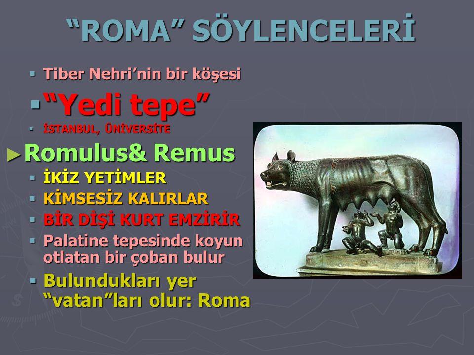 """""""ROMA"""" SÖYLENCELERİ  Tiber Nehri'nin bir köşesi  """"Yedi tepe""""  İSTANBUL, ÜNİVERSİTE ► Romulus& Remus  İKİZ YETİMLER  KİMSESİZ KALIRLAR  BİR DİŞİ"""