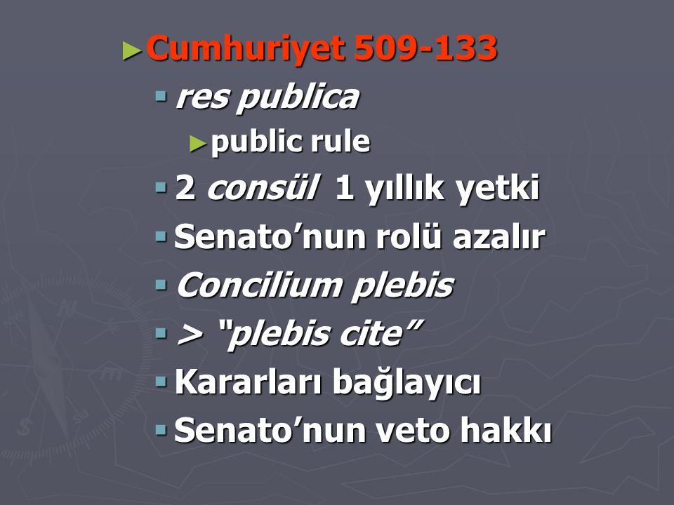 """► Cumhuriyet 509-133  res publica ► public rule  2 consül 1 yıllık yetki  Senato'nun rolü azalır  Concilium plebis  > """"plebis cite""""  Kararları b"""