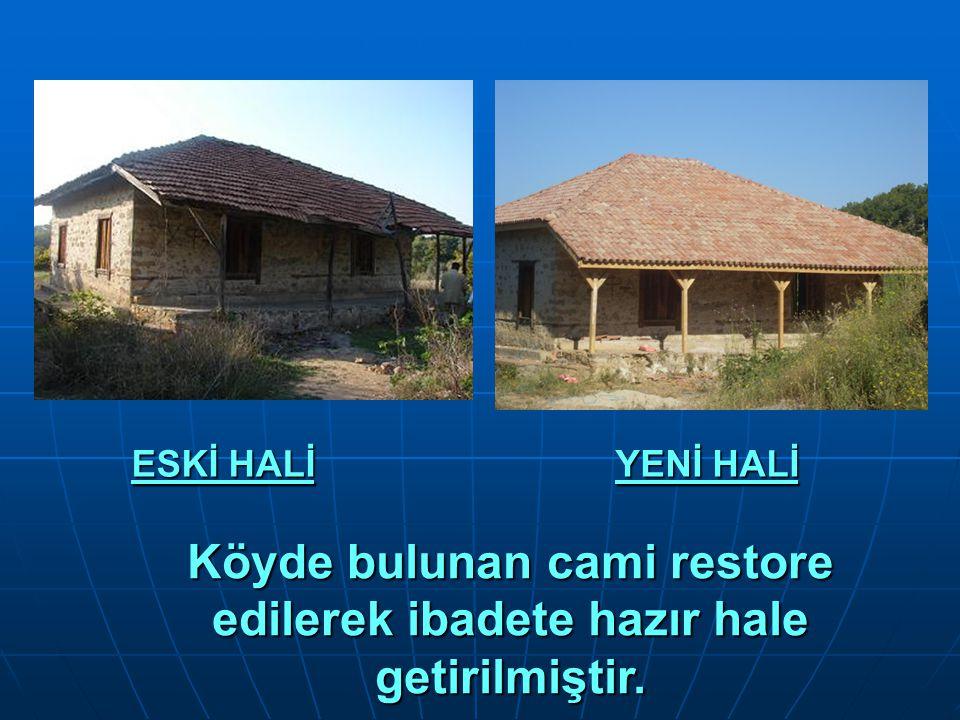 Köyde bulunan cami restore edilerek ibadete hazır hale getirilmiştir. ESKİ HALİ YENİ HALİ