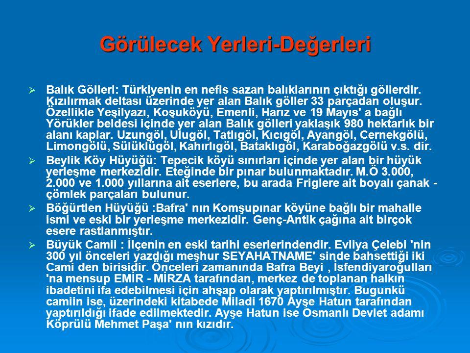 Görülecek Yerleri-Değerleri   Balık Gölleri: Türkiyenin en nefis sazan balıklarının çıktığı göllerdir. Kızılırmak deltası üzerinde yer alan Balık gö