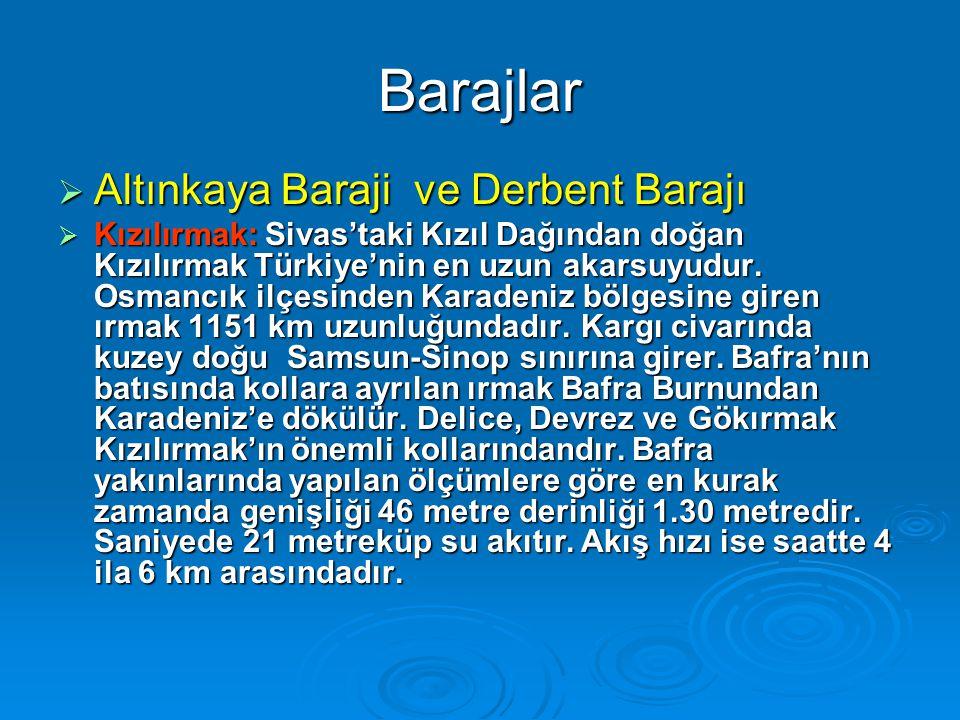 Barajlar  Altınkaya Baraji ve Derbent Barajı  Kızılırmak: Sivas'taki Kızıl Dağından doğan Kızılırmak Türkiye'nin en uzun akarsuyudur.