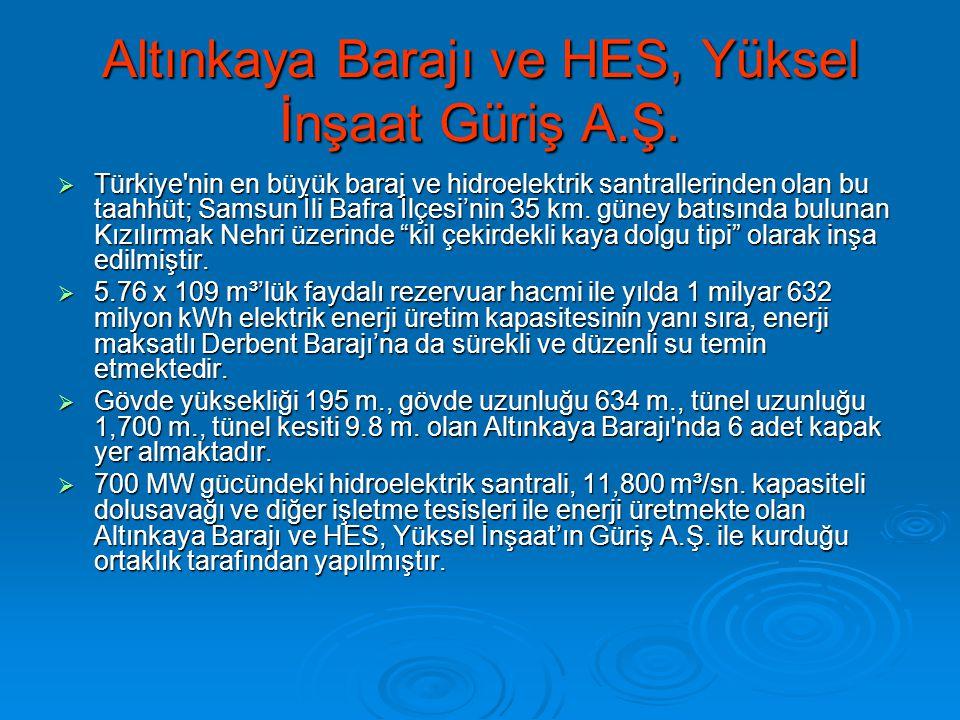Altınkaya Barajı ve HES, Yüksel İnşaat Güriş A.Ş.  Türkiye'nin en büyük baraj ve hidroelektrik santrallerinden olan bu taahhüt; Samsun İli Bafra İlçe