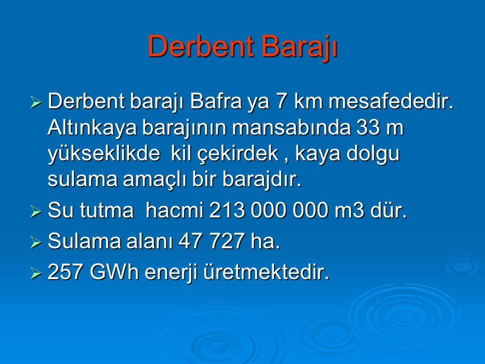 Derbent Barajı  Derbent barajı Bafra ya 7 km mesafededir. Altınkaya barajının mansabında 33 m yükseklikde kil çekirdek, kaya dolgu sulama amaçlı bir