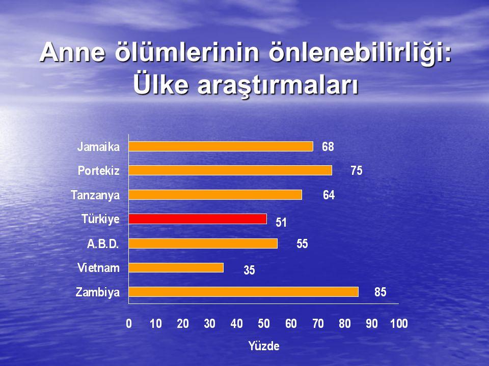 En son 1999 yılında Türkiye'de hastane temelli bir En son 1999 yılında Türkiye'de hastane temelli bir araştırma sonucunda elde edilen bilgilere göre anne ölüm hızı yüzbinde 49'dur.