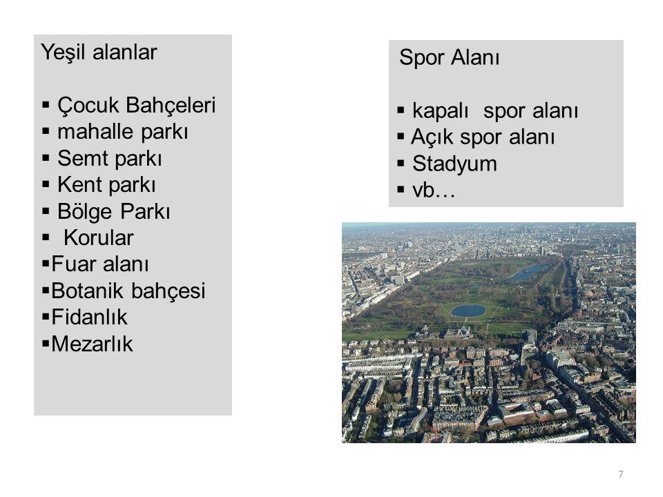 BRÜT YOĞUNLUK Kentin alt parçaları için yoğunluk Birkaç ADA olabilirBrüt Alan:6 hektar =60000 m2 20 daire * 5 kat = 100 daire 100 daire * 4 kişi = 400 kişi Nüfus=400 kişi* 5 ada =2000 kişi Brüt Yoğunluk 2000 kişi / 6 ha = 333 ki/ha Donatı alanı: Otopark+yol+oyun alanı+park 1 ha +1 ha =2 ha Net konut alanı=6 ha - 2 ha = 4 ha Net Yoğunluk:2000 ki / 4 ha =500 ki/ha Donatı payı (DOP)= % 33