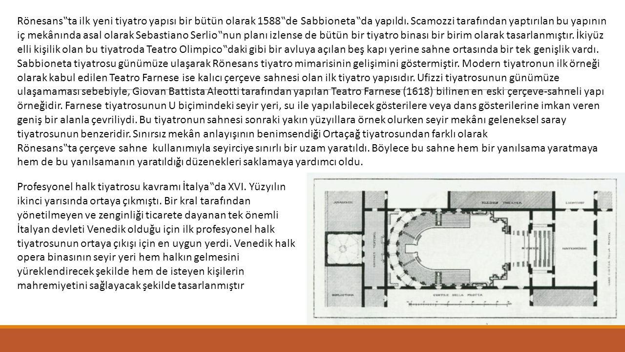 """Rönesans""""ta ilk yeni tiyatro yapısı bir bütün olarak 1588""""de Sabbioneta""""da yapıldı. Scamozzi tarafından yaptırılan bu yapının iç mekânında asal olarak"""