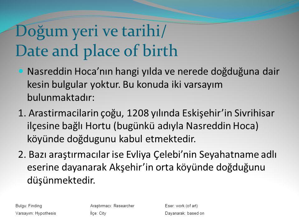 Doğum yeri ve tarihi/ Date and place of birth Nasreddin Hoca'nın hangi yılda ve nerede doğduğuna dair kesin bulgular yoktur.