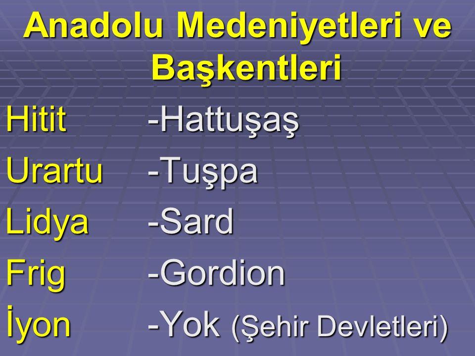Anadolu Medeniyetleri ve Başkentleri Hitit -Hattuşaş Urartu-Tuşpa Lidya-Sard Frig-Gordion İyon-Yok (Şehir Devletleri)
