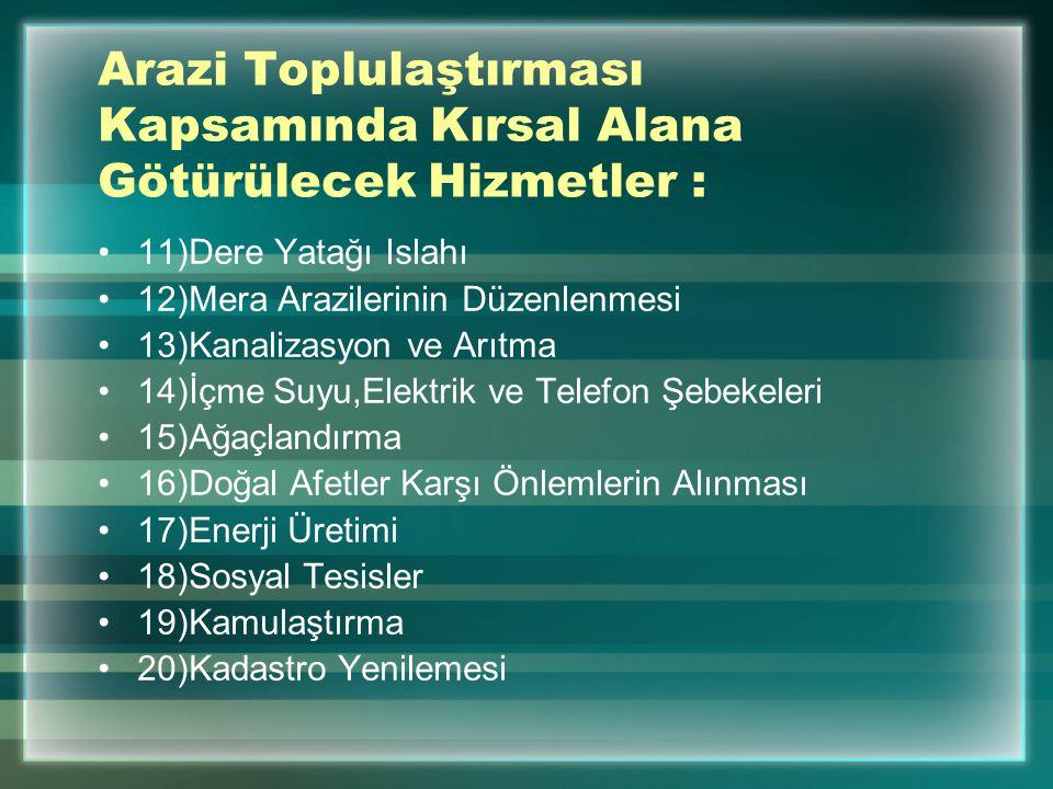 Kaynakça http://www.tarim.gov.tr/ http://www.tarimtv.gov.tr/ http://www.tarimreformu.gov.tr/ http://www.agri.ankara.edu.tr/ Demirel, Z..Arazi Toplulaştırma., Yıldız Teknik Ünv.