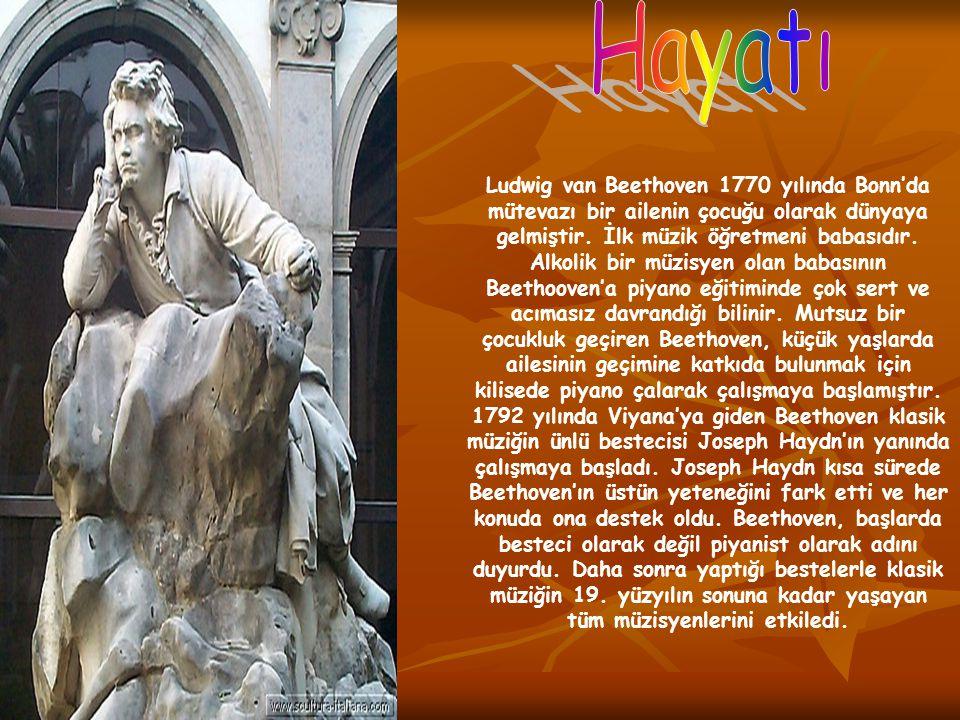Ludwig van Beethoven 1770 yılında Bonn'da mütevazı bir ailenin çocuğu olarak dünyaya gelmiştir. İlk müzik öğretmeni babasıdır. Alkolik bir müzisyen ol