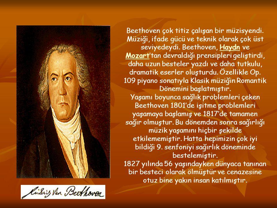 Beethoven çok titiz çalışan bir müzisyendi. Müziği, ifade gücü ve teknik olarak çok üst seviyedeydi. Beethoven, Haydn ve Mozart'tan devraldığı prensip