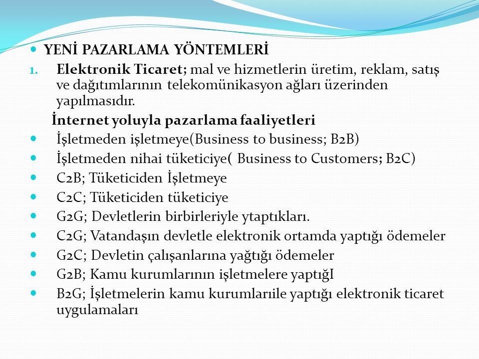 YENİ PAZARLAMA YÖNTEMLERİ 1. Elektronik Ticaret; mal ve hizmetlerin üretim, reklam, satış ve dağıtımlarının telekomünikasyon ağları üzerinden yapılmas