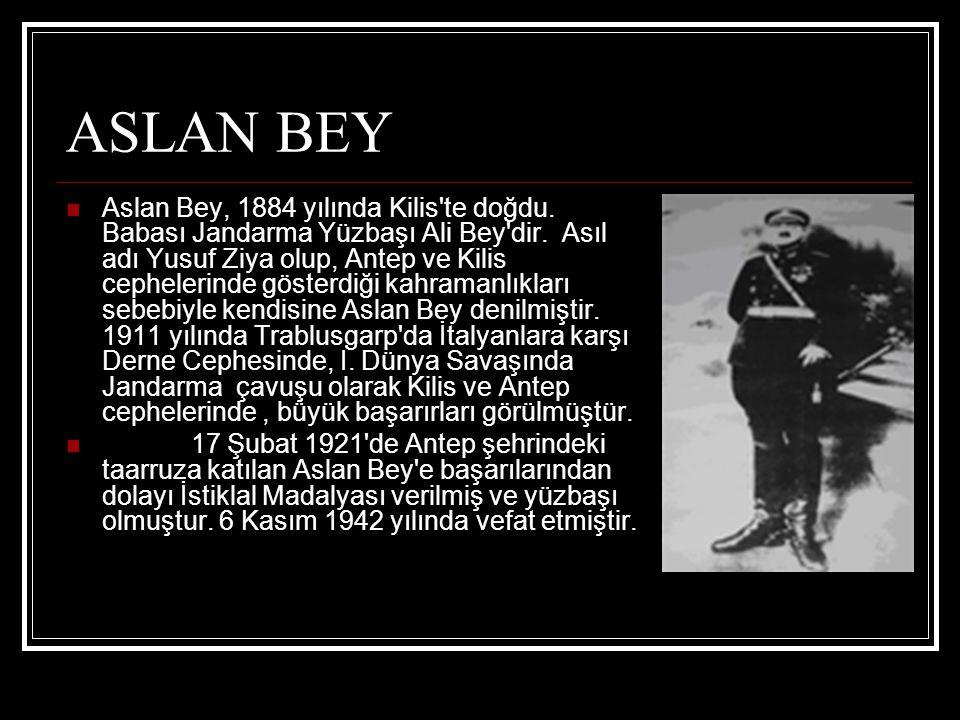 ASLAN BEY Aslan Bey, 1884 yılında Kilis'te doğdu. Babası Jandarma Yüzbaşı Ali Bey'dir. Asıl adı Yusuf Ziya olup, Antep ve Kilis cephelerinde gösterdiğ