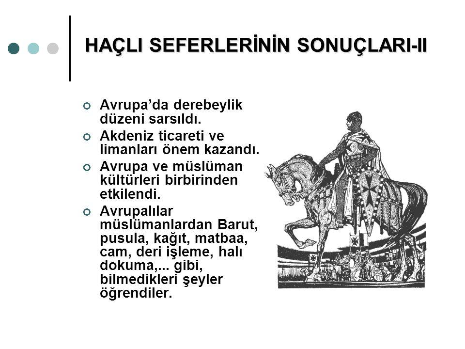 HAÇLI SEFERLERİNİN SONUÇLARI-II Avrupa'da derebeylik düzeni sarsıldı. Akdeniz ticareti ve limanları önem kazandı. Avrupa ve müslüman kültürleri birbir