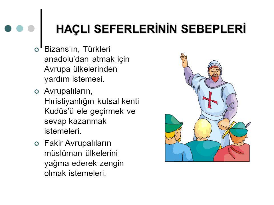 HAÇLI SEFERLERİNİN SEBEPLERİ Bizans'ın, Türkleri anadolu'dan atmak için Avrupa ülkelerinden yardım istemesi. Avrupalıların, Hıristiyanlığın kutsal ken