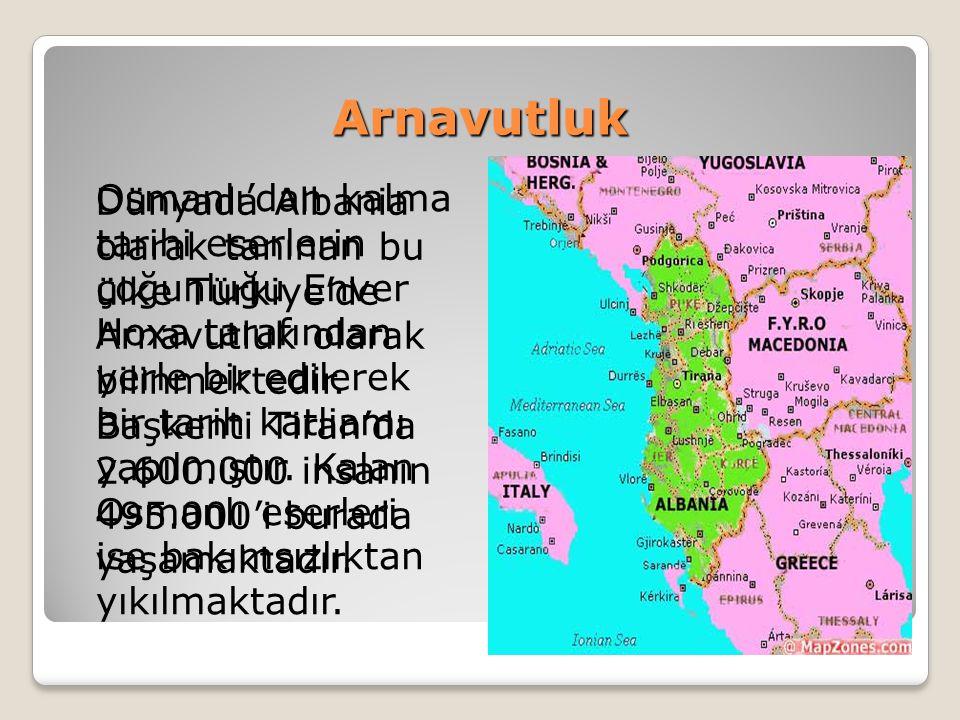 Arnavutluk Dünyada Albania olarak tanınan bu ülke Türkiye'de Arnavutluk olarak bilinmektedir. Başkenti Tiran'da 2.600.000 insanın 495.000'i burada yaş
