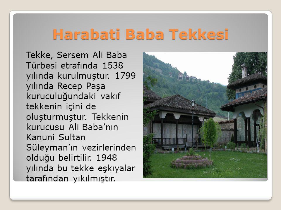 Harabati Baba Tekkesi Tekke, Sersem Ali Baba Türbesi etrafında 1538 yılında kurulmuştur. 1799 yılında Recep Paşa kuruculuğundaki vakıf tekkenin içini