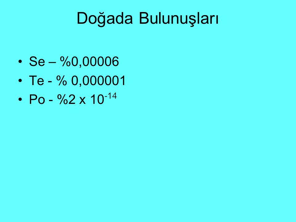 Doğada Bulunuşları Se – %0,00006 Te - % 0,000001 Po - %2 x 10 -14