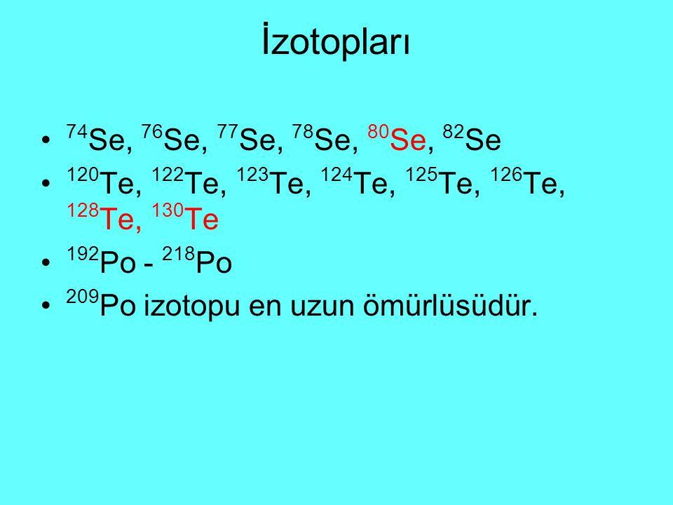 İzotopları 74 Se, 76 Se, 77 Se, 78 Se, 80 Se, 82 Se 120 Te, 122 Te, 123 Te, 124 Te, 125 Te, 126 Te, 128 Te, 130 Te 192 Po - 218 Po 209 Po izotopu en uzun ömürlüsüdür.