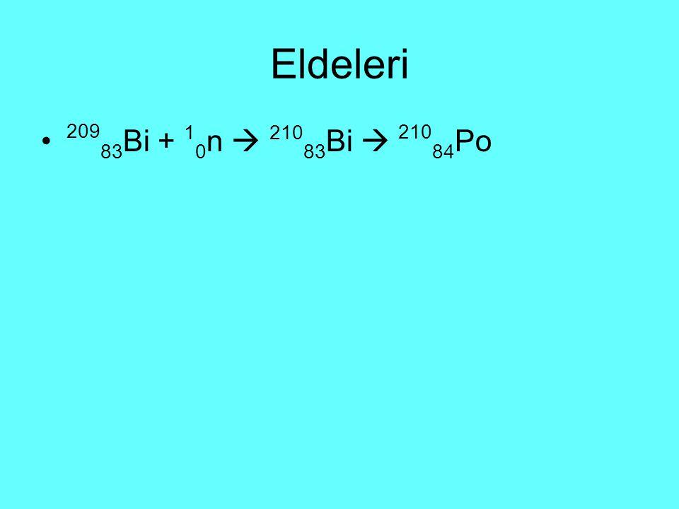 Eldeleri 209 83 Bi + 1 0 n  210 83 Bi  210 84 Po