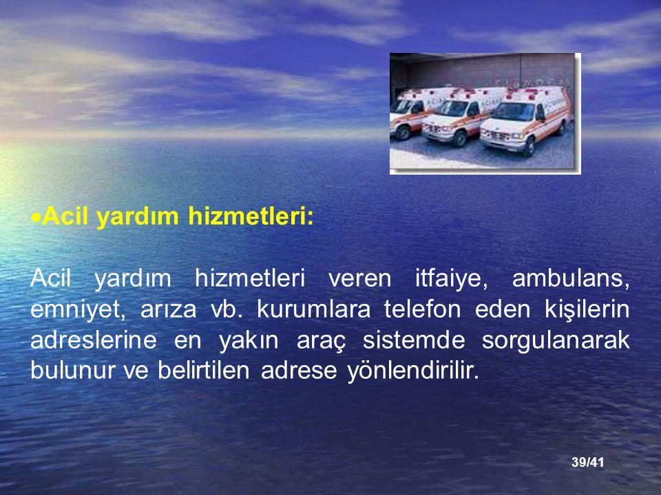 39/41  Acil yardım hizmetleri: Acil yardım hizmetleri veren itfaiye, ambulans, emniyet, arıza vb.