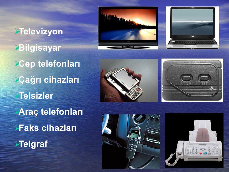 4/41  Televizyon  Bilgisayar  Cep telefonları  Çağrı cihazları  Telsizler  Araç telefonları  Faks cihazları  Telgraf