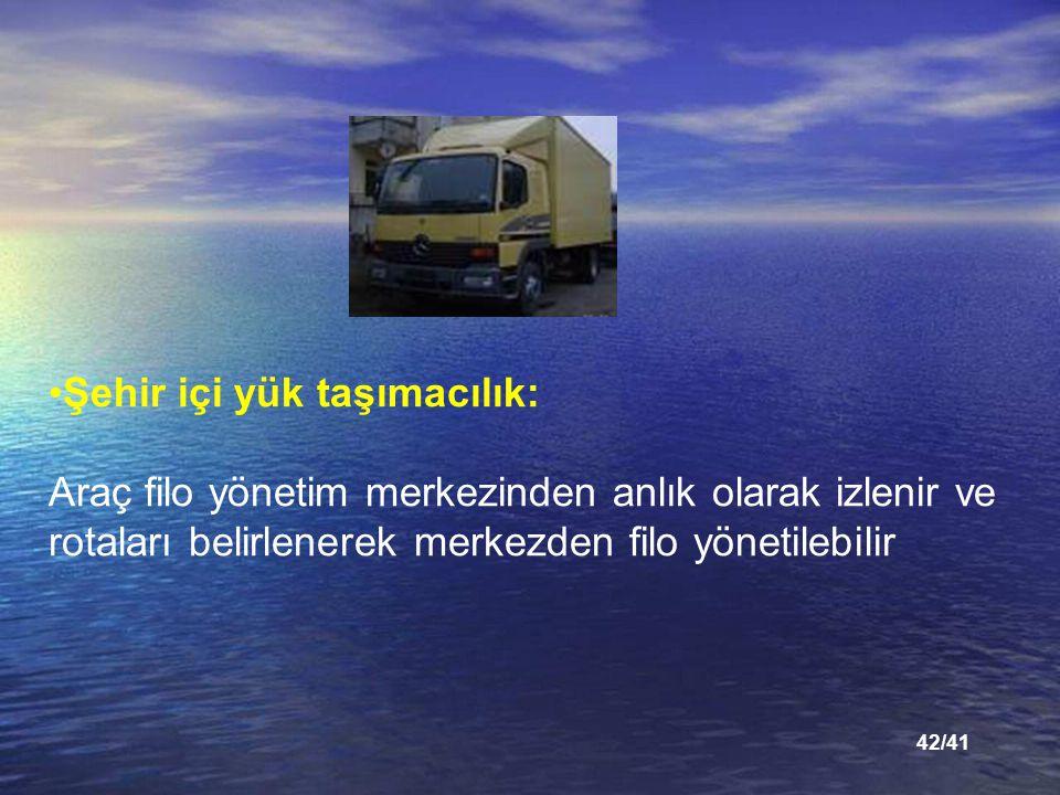 42/41 Şehir içi yük taşımacılık: Araç filo yönetim merkezinden anlık olarak izlenir ve rotaları belirlenerek merkezden filo yönetilebilir