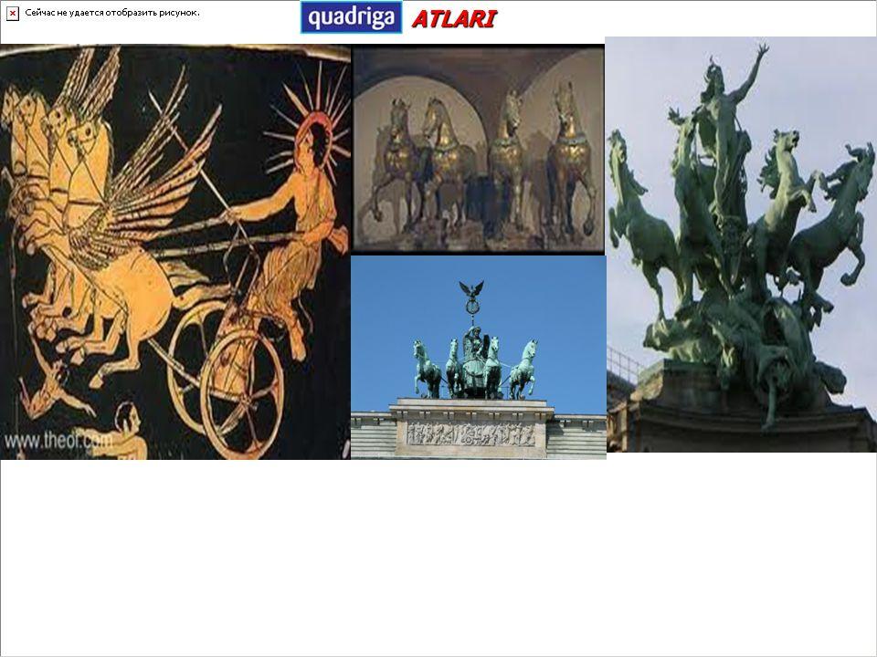 Türkçe dört at heykeliveya dört atın çektiği tek kişilik araba anlamına gelir. Latinlerin 12. yy'daki büyük İstanbul yağması sırasında diğer Bizans es