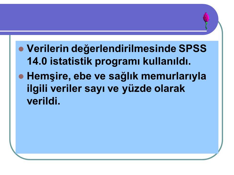 Verilerin değerlendirilmesinde SPSS 14.0 istatistik programı kullanıldı. Hemşire, ebe ve sağlık memurlarıyla ilgili veriler sayı ve yüzde olarak veril