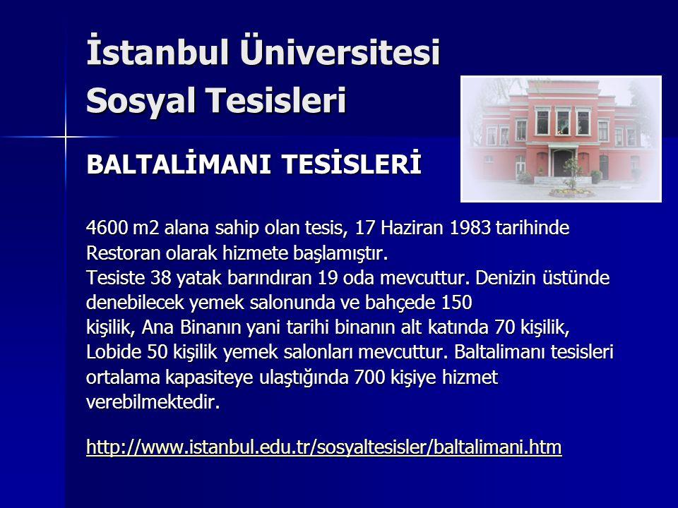 İstanbul Üniversitesi Sosyal Tesisleri BALTALİMANI TESİSLERİ 4600 m2 alana sahip olan tesis, 17 Haziran 1983 tarihinde Restoran olarak hizmete başlamı
