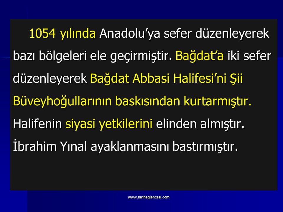 Tuğrul Bey (1038-1063) Devletin ilk hükümdarıdır. Dandanakan Meydan Muharebesi'nde Gaznelileri yenerek devleti fiilen kurmuştur. Anadolu için ilk cidd