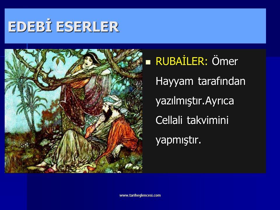 www.tariheglencesi.com EDEBİ ESERLER DİVANI HİKMET: Yesevilik tarikatının kurucusu Hoca Ahmet Yesevi tarafından yazılmıştır.ilk Türk Mutasavvıfıdır. D