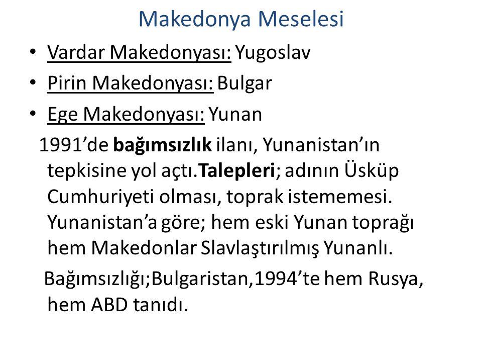 Makedonya Meselesi Vardar Makedonyası: Yugoslav Pirin Makedonyası: Bulgar Ege Makedonyası: Yunan 1991'de bağımsızlık ilanı, Yunanistan'ın tepkisine yo