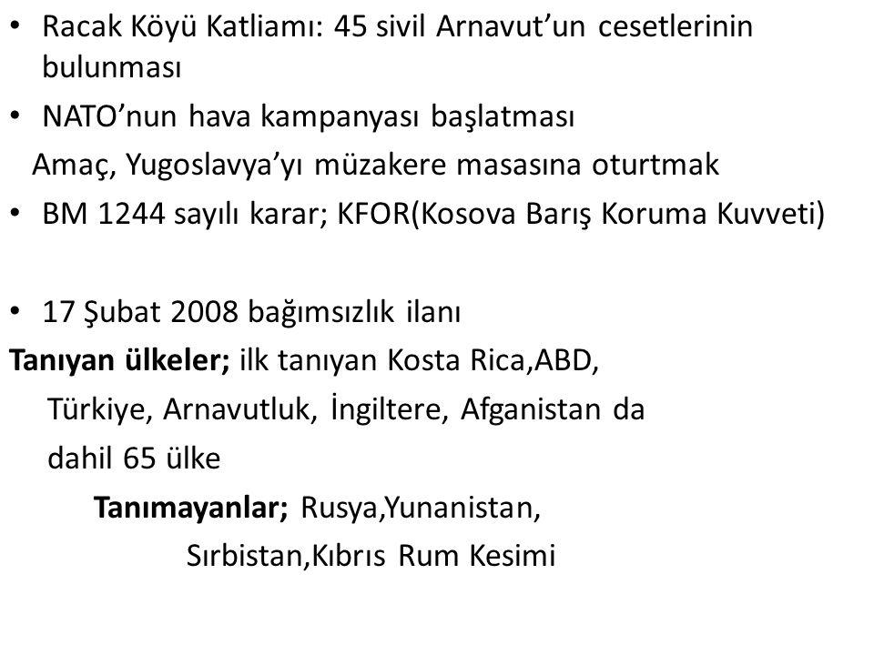 Racak Köyü Katliamı: 45 sivil Arnavut'un cesetlerinin bulunması NATO'nun hava kampanyası başlatması Amaç, Yugoslavya'yı müzakere masasına oturtmak BM