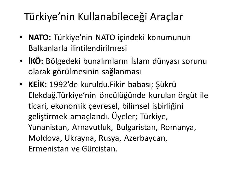 Türkiye'nin Kullanabileceği Araçlar NATO: Türkiye'nin NATO içindeki konumunun Balkanlarla ilintilendirilmesi İKÖ: Bölgedeki bunalımların İslam dünyası
