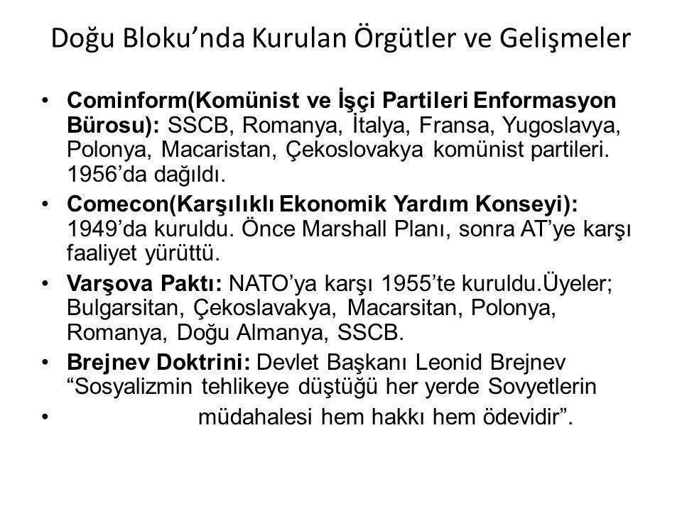 Doğu Bloku'nda Kurulan Örgütler ve Gelişmeler Cominform(Komünist ve İşçi Partileri Enformasyon Bürosu): SSCB, Romanya, İtalya, Fransa, Yugoslavya, Pol