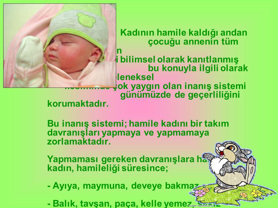 Kadının hamile kaldığı andan itibaren;çocuğu annenin tüm davranışlarından etkileneceği bilimsel olarak kanıtlanmış olup;bu konuyla ilgili olarak Anado
