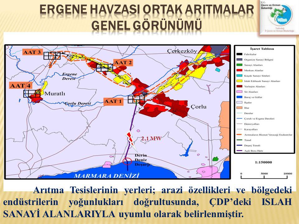 2,1 MW Arıtma Tesislerinin yerleri; arazi özellikleri ve bölgedeki endüstrilerin yoğunlukları doğrultusunda, ÇDP'deki ISLAH SANAYİ ALANLARIYLA uyumlu