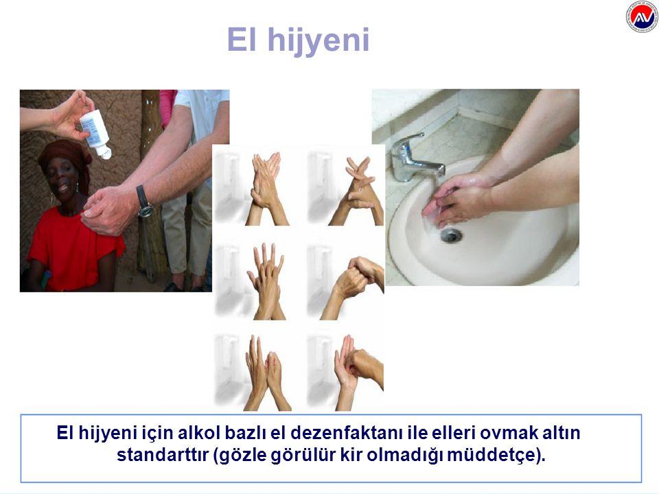 El hijyeni için alkol bazlı el dezenfaktanı ile elleri ovmak altın standarttır (gözle görülür kir olmadığı müddetçe). El hijyeni