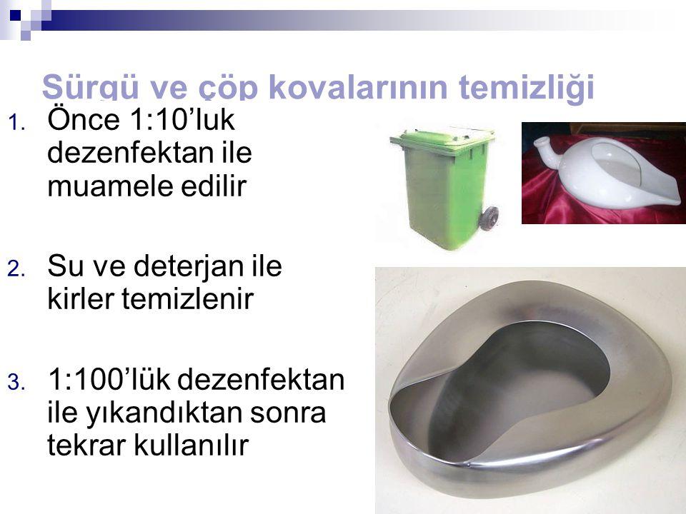Sürgü ve çöp kovalarının temizliği 1. Önce 1:10'luk dezenfektan ile muamele edilir 2. Su ve deterjan ile kirler temizlenir 3. 1:100'lük dezenfektan il