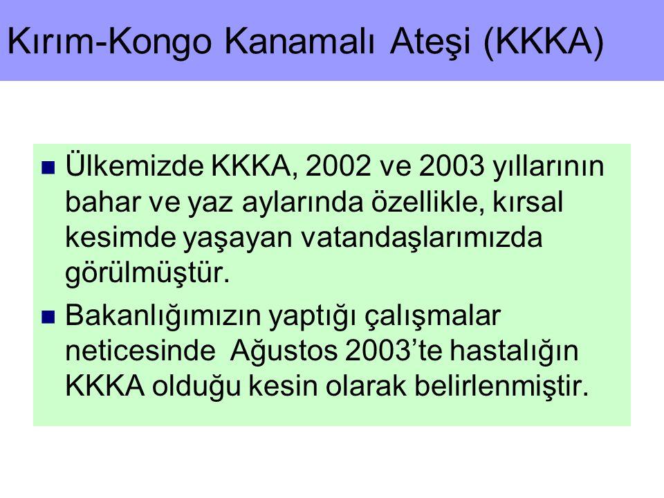 Kırım-Kongo Kanamalı Ateşi (KKKA) Ülkemizde KKKA, 2002 ve 2003 yıllarının bahar ve yaz aylarında özellikle, kırsal kesimde yaşayan vatandaşlarımızda g